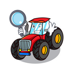 Detective tractor character cartoon style vector