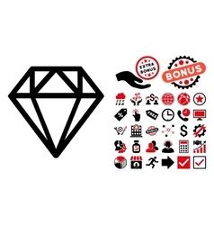 Diamond Flat Icon with Bonus vector image
