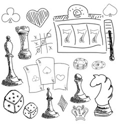 Drawn symbols of gambling games vector