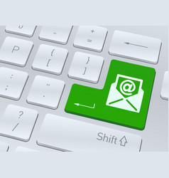 email symbol on white computer keyboard vector image