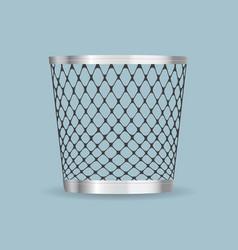 Empty steel trash can realistic icon vector