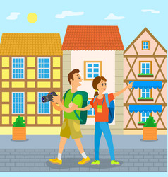 european city travelers tourists in old town vector image