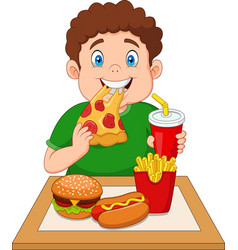 Fat boy eating junk food vector