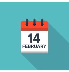 February 14 calendar icon Valentines day Love vector
