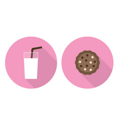 Flat glass of milk and cookie vector