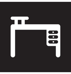 Flat icon in black and white style office desk vector