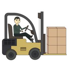 forklift truck fork loader pallet with stacked vector image