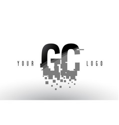 Gc g c pixel letter logo with digital shattered vector