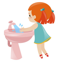 Girl washing hands in sink vector