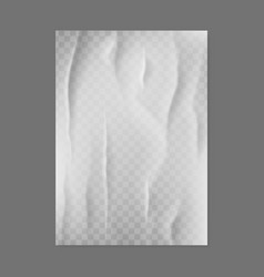 glued paper realistic blank creased poster 3d vector image