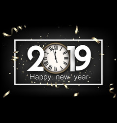 grey 2019 happy new year card with gold clock vector image