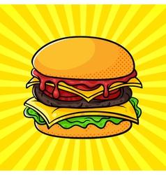 Hand drawn pop art of hamburger vector