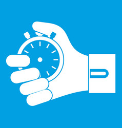 hand holding stopwatch icon white vector image