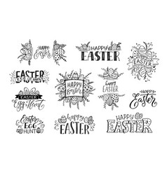 Happy easter phrases vector