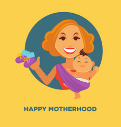 Happy motherhood promotional poster with woman and vector
