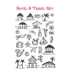 Hotel and travel icons collection for your design vector