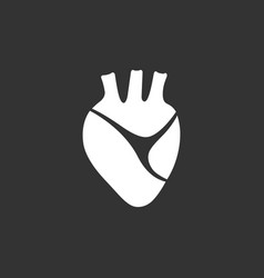 human heart icon on a black background vector image