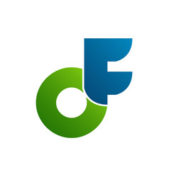 initial letter df logo with blue green color vector image