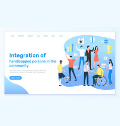 Integration handicapped people in community vector