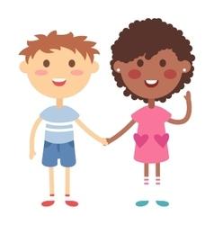 Kids holding hands vector image