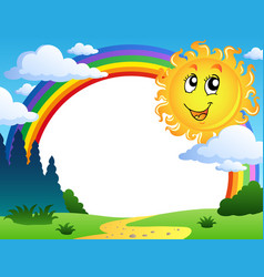 Landscape with rainbow and sun 2 vector
