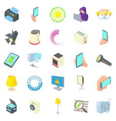 lantern icons set cartoon style vector image