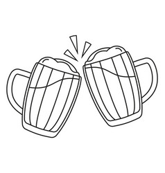 line art black and white two beer mug vector image