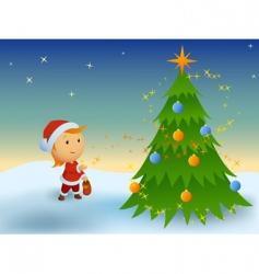 little boy and magic Christmas vector image