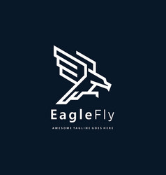 logo eagle flay line art style vector image