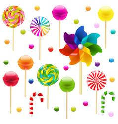 Lollypop big set with pinwheel vector