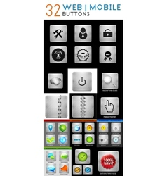 Mega set of metallic web mobile buttons vector image