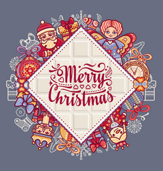 Merry christmas toys greeting card vector