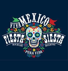 mexican dia de los muertos cute floral skul vector image