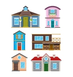 Modern residential building houses cartoon vector