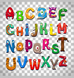 Monster alphabet on transparent background vector