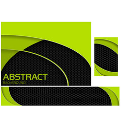 neon green and black tech design set vector image