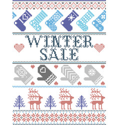 nordic seamless christmas pattern winter sale vector image
