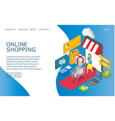 online shopping website landing page design vector image