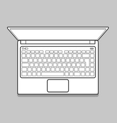open modern laptop top view vector image