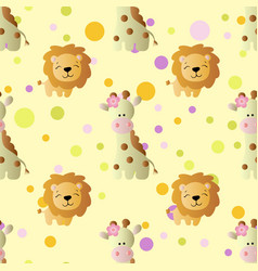 Pattern with cartoon cute baby giraffe and lion vector