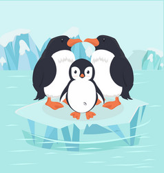 Penguin bird and baby in north pole arctic vector