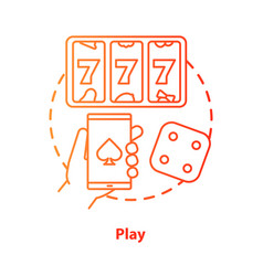 Play concept icon slots machine one armed bandit vector