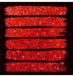 Red glitter brushstrokes set isolated at black vector