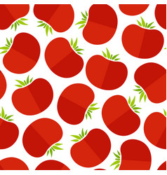 red tomato decorative seamless vegetable pattern vector image