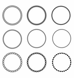 Rope frame set of round frames from nautical vector