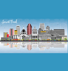 Saint paul minnesota city skyline with gray vector