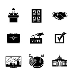 Set of ELECTION icons - votebox handshake vector image