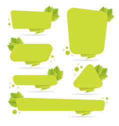 Set of green paper origami banners with leaves vector