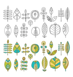 set of hand drawn leaves vector image
