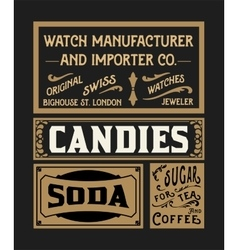 Set of old advertisement designs and labels vector